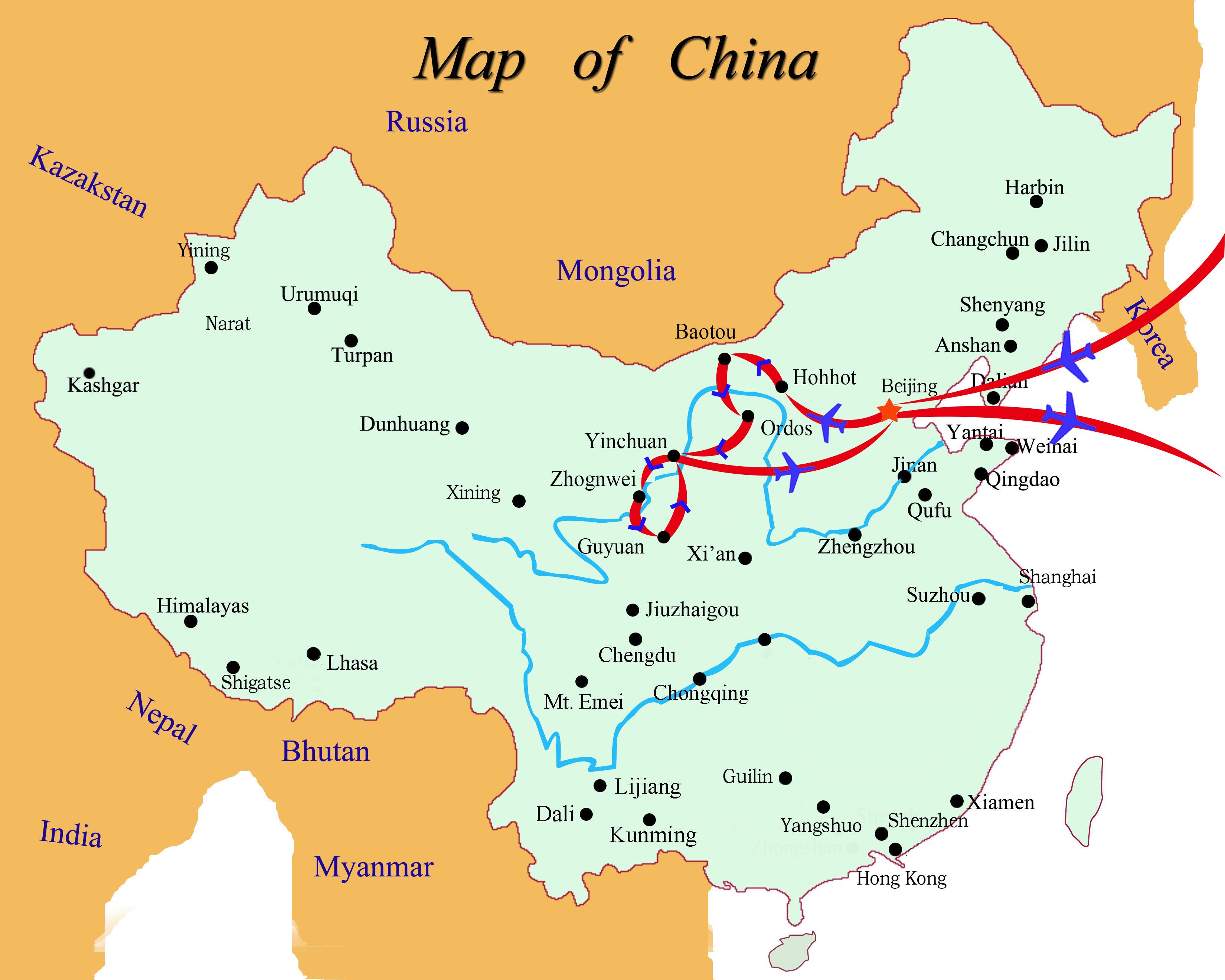 Ningxia China Map.Inner Mongolia Ningxia Map 161009 Air Sea Travel Center