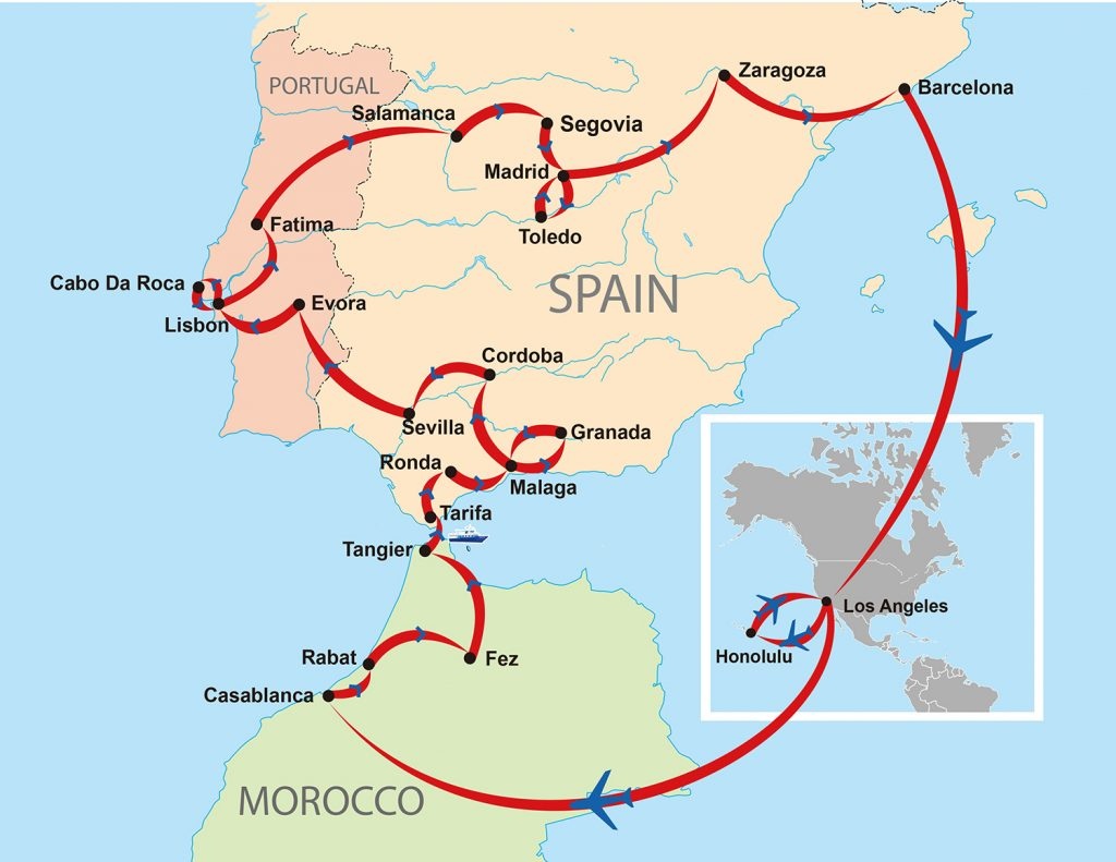 Full Map Of Spain.Morocco Spain Portugal Map 170418 Air Sea Travel Center