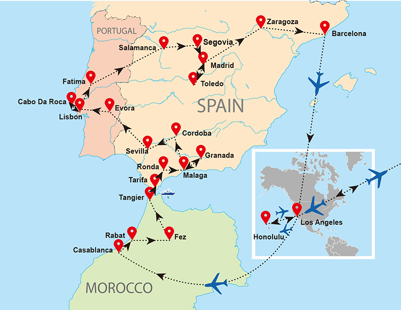 Map Of Spain Morocco.Morocco Spain Portugal Map 190426 Air Sea Travel Center